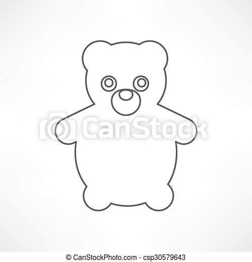 Teddy Bear Toy - icon isolated - csp30579643