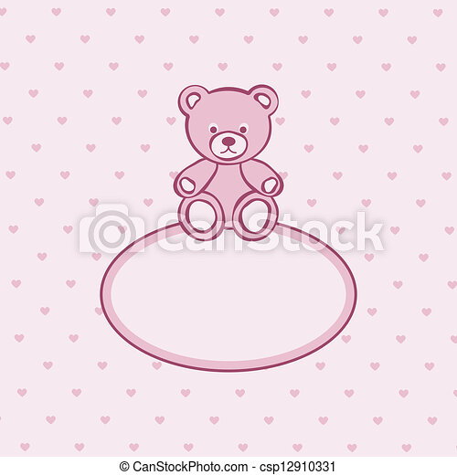 Teddy bear toy pink frame. - csp12910331