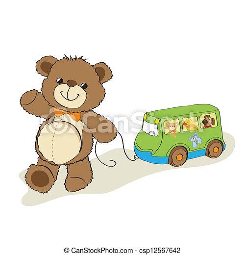 teddy bear toy pulling a bus - csp12567642
