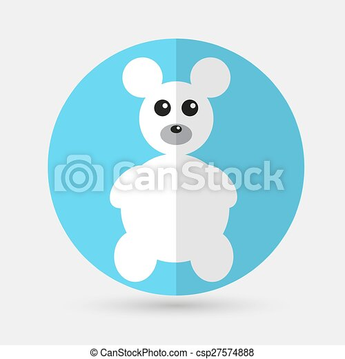 Teddy Bear Toy - Vector icon isolated on a white background - csp27574888