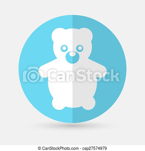 Teddy Bear Toy - Vector icon isolated on a white background - csp27574979