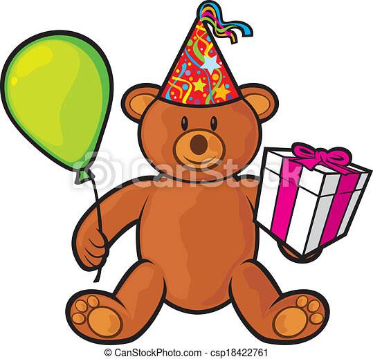 Teddy Bear Toy With Gift Box Birthday Hat And Balloon Cute Clip