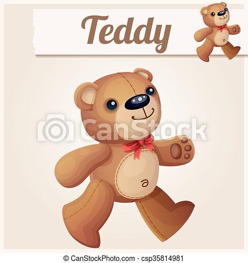 Cartoon a cute happy bear carries a barrel of Vector Image