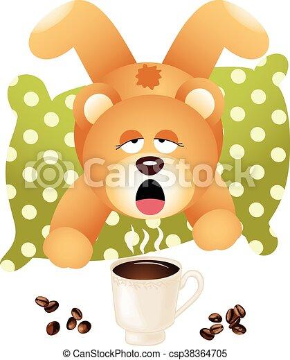 Teddy bear wants coffee - csp38364705