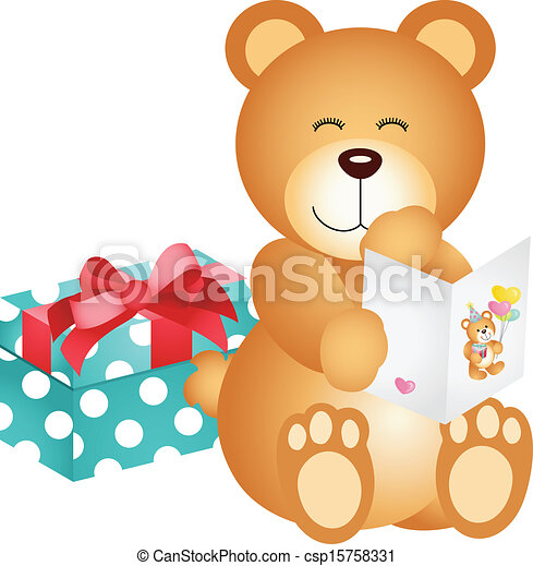 Teddy Bear With Birthday Card And G Scalable Vectorial Image