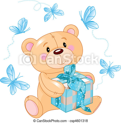 Teddy Bear with blue gift - csp4601318