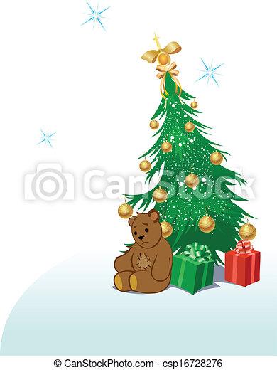 A green bear for the Christmas tree TEDDY
