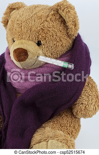 Teddy bear with fever thermometer a plush bear with a fever teddy bear with fever thermometer csp52515674 thecheapjerseys Gallery