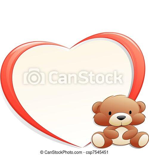 Teddy bear with frame. Cartoon teddy bear with heart-shaped frame ...