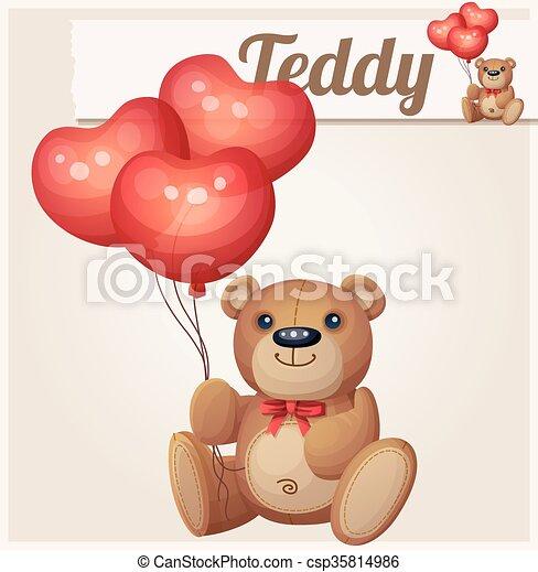 Teddy bear with heart balloons - csp35814986