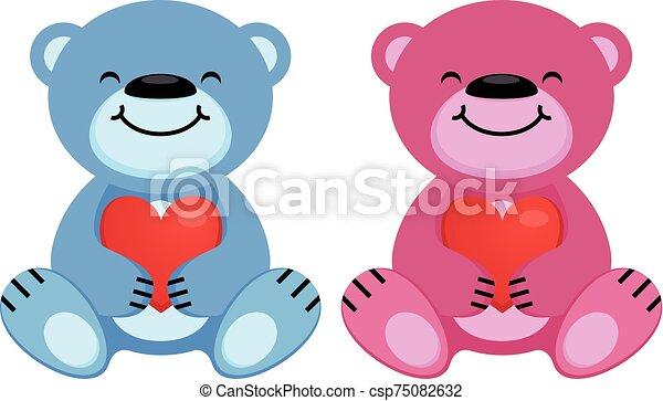 Teddy bear with heart - csp75082632