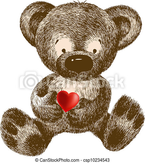 Teddy Bear with heart, hand-drawing - csp10234543