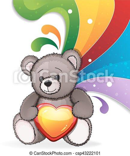 Teddy bear with heart - csp43222101