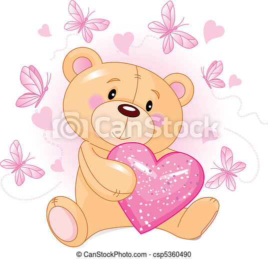 Teddy Bear with love heart - csp5360490