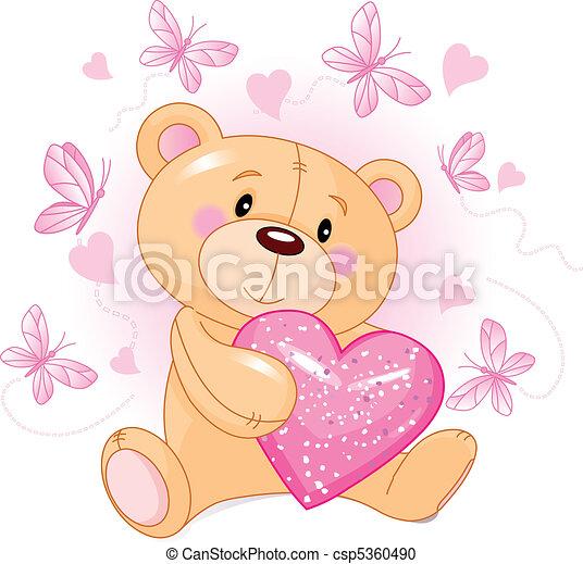 Teddy Bear with love heart - csp5360490