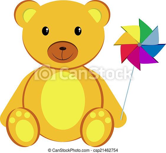 Teddy bear with pinwheel - csp21462754