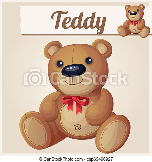 Teddy bear with red bow - csp63496927