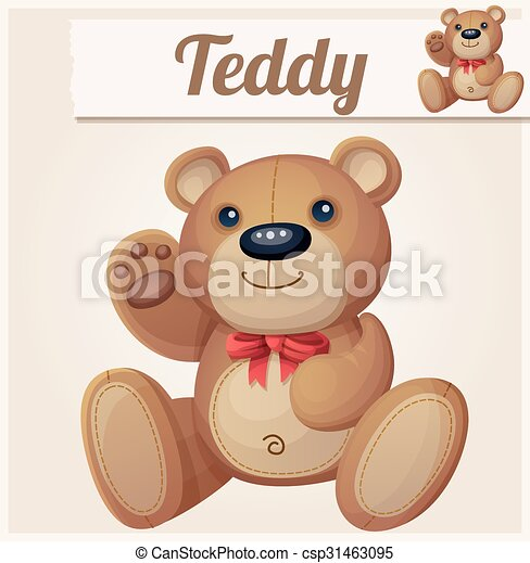 Teddy bear with red bow waves the paw - csp31463095