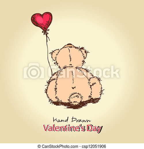 teddy bear with red heart balloon - csp12051906