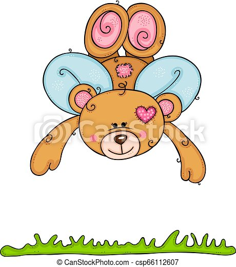Teddy bear with wings flying - csp66112607