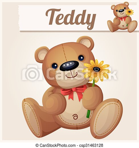 Teddy bear with yellow flower. Cartoon vector illustration. Series of childrens toys - csp31463128