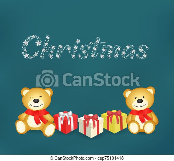 Teddy bears and gift in a blue background - csp75101418