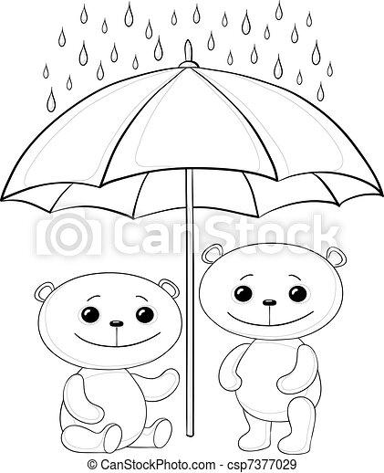 Teddy bears and umbrella, contours - csp7377029