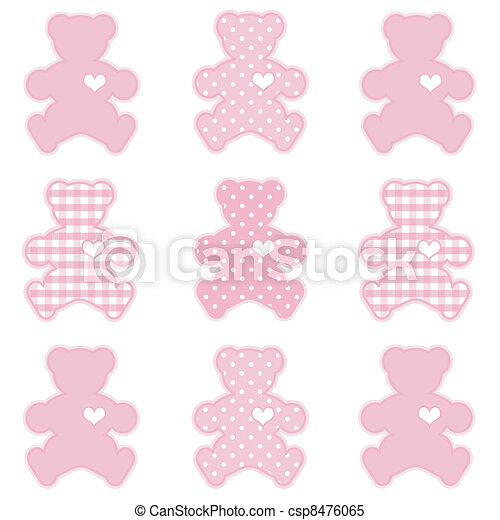 Teddy Bears, Gingham and Polka Dots - csp8476065