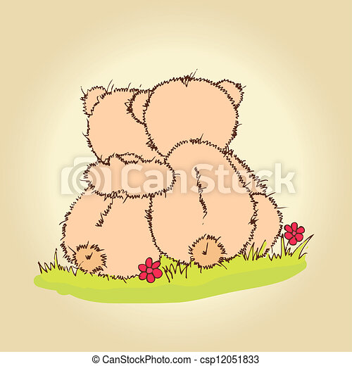 teddy bears hug - csp12051833