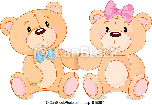 Two cute teddy bears in love teddy bears in love csp18153871 altavistaventures Images