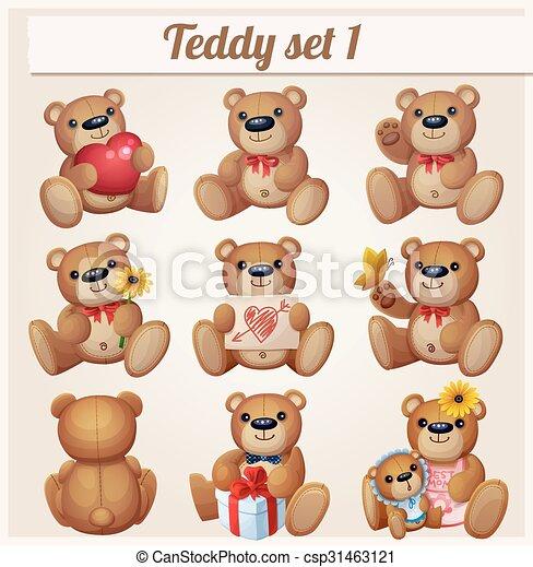 Teddy bears set. Part 1. Cartoon vector illustration - csp31463121