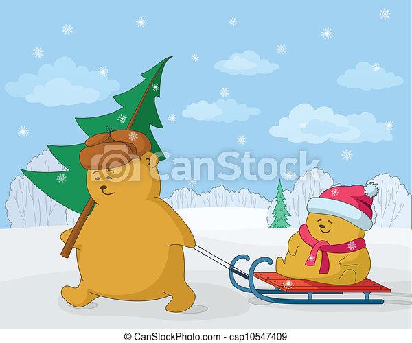 Teddy bears with a Christmas tree - csp10547409