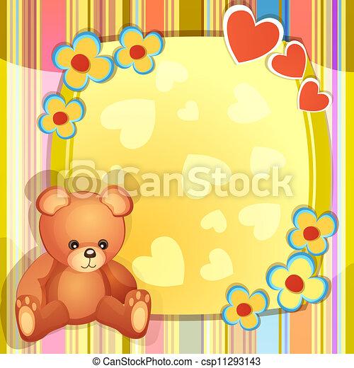 teddy beer, baby, kaart, douche - csp11293143