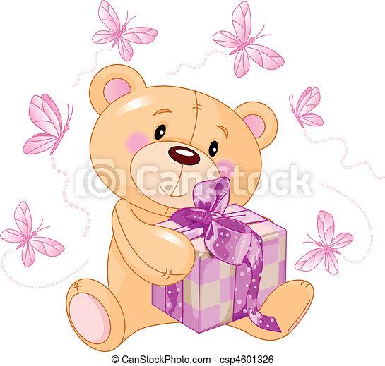 teddy beer, cadeau, roze - csp4601326