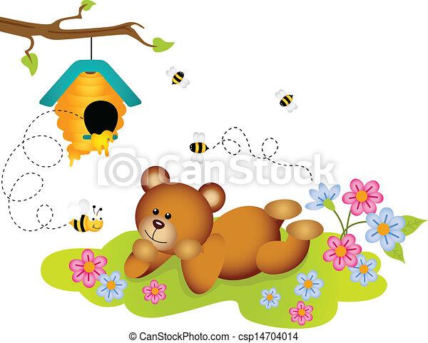 teddy, bewonderen, bijenkorf, beer - csp14704014