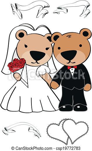 El set de bodas de Teddy Bear - csp19772783