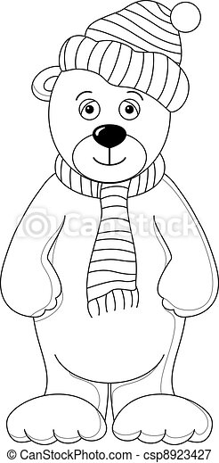 Teddy in cap and scarf, contours - csp8923427