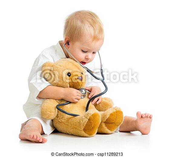 teddy, sur, docteur, ours, enfant, blanc, adorable, vêtements - csp11289213