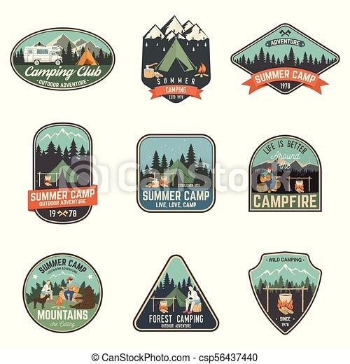 tee., été, concept, illustration., camp., timbre, ou, vecteur, impression, logo, chemise - csp56437440