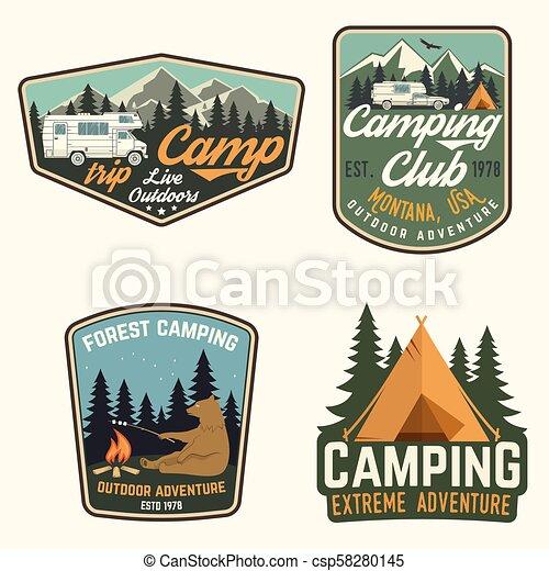 tee., badges., jogo, camisa, acampamento verão, selo, remendo, ou, conceito, vector., impressão, logotipo - csp58280145