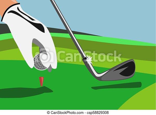 Tee box of golf with hand ball golf club - csp58829308