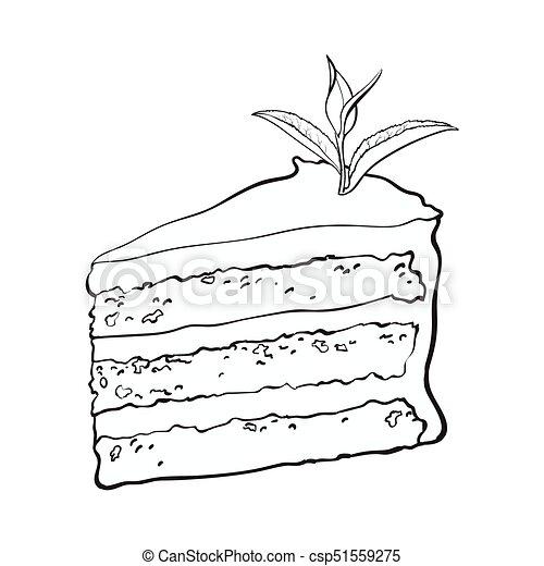 Tee Hand Uberlagert Matcha Kuchen Gezeichnet Stuck Skizze