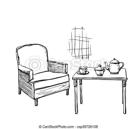 Tisch gezeichnet  Tee, hand, time., gezeichnet, tisch, stuhl. Leben, noch,... Vektor ...