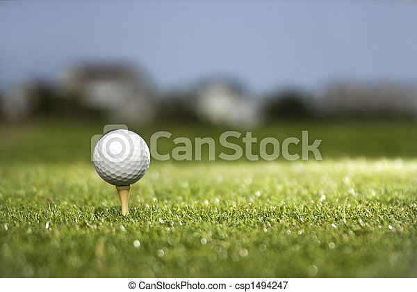 Golf ball on tee. - csp1494247