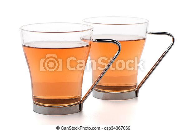 Teetassen Glas tassen schwarz zwei glas glas zwei stockbild