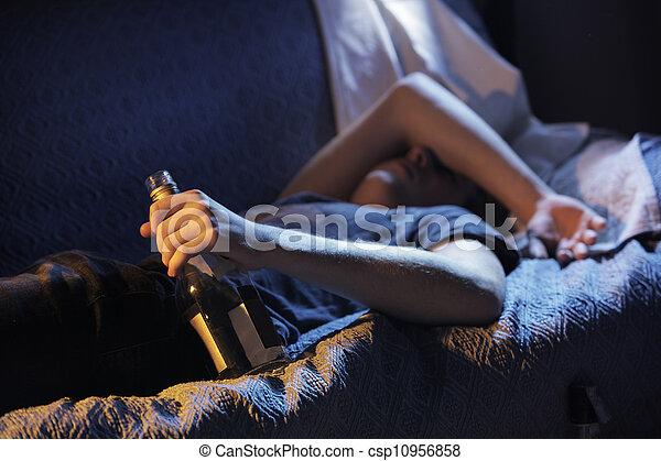 Teen alcohol addiction concept - csp10956858
