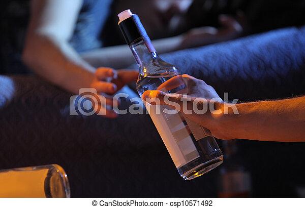 Teen alcohol addiction concept - csp10571492