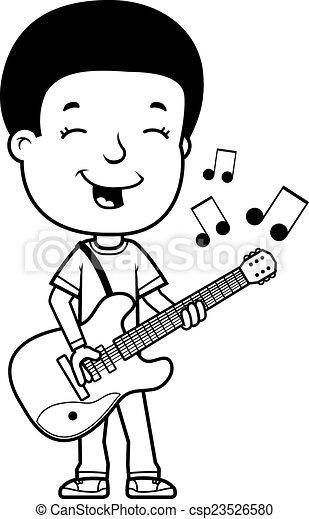 Teen Boy Guitar A Cartoon Illustration Of A Teenage Boy Playing An Electric Guitar