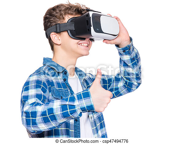 6aaf4582eba0 Teen boy in vr glasses. Happy teen boy wearing virtual reality ...