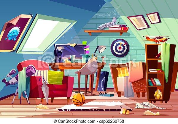Teen boy messy attic room interior cartoon vector